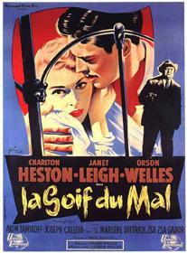 Une affiche d'époque de La Soif du mal d'Orson Welles