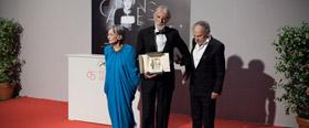 Emmanuelle Riva, Michael Haneke et Jean-Louis Trintignant reçoivent la Palme d'or © Sébastien Dolidon