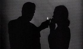 Les ombres d'Humphrey Bogart et Lauren Bacall dans Le Grand Sommeil