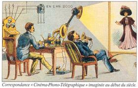 """Correspondance """"cinéma-phono-télégraphique"""" imaginée au début du XXe siècle"""